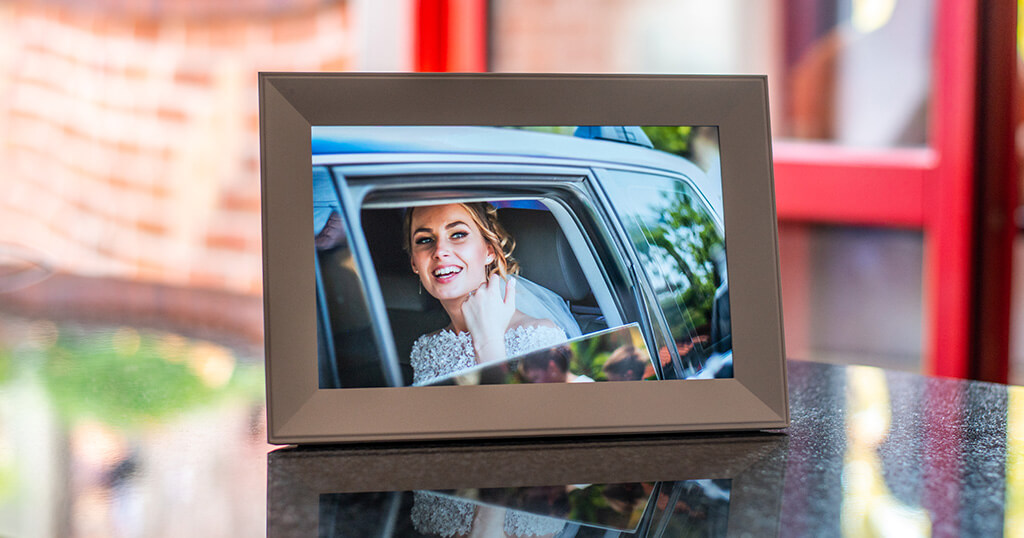 If you are looking for a digital frame for your wedding photos, you might like the beautiful white Aura Carver 3