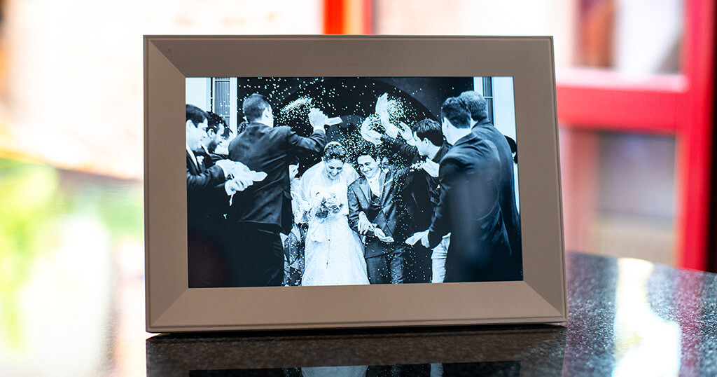 If you are looking for a digital frame for your wedding photos, you might like the beautiful white Aura Carver 12