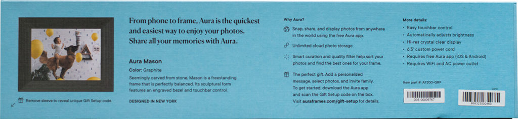 The Aura Mason digital picture frame with the Gift Setup feature to upload images even before the box is opened 4