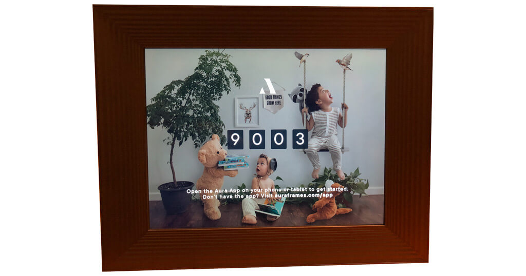 The Aura Mason digital picture frame with the Gift Setup feature to upload images even before the box is opened 12